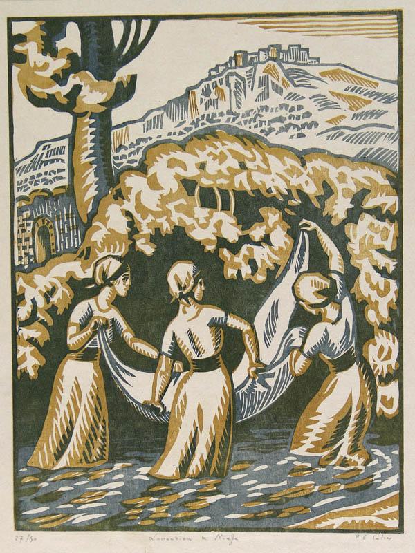 Paul-Emile COLIN : Les lavandières à Ninfa, Italie - Gravure sur bois au canif