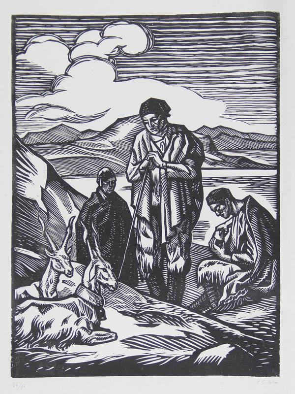 Paul-Emile COLIN : Chevriers Siciliens - Gravure sur bois au canif